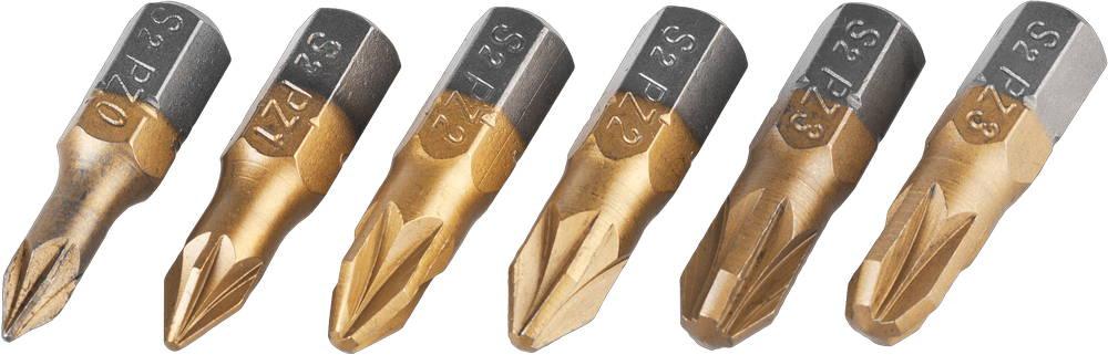 Набор JCB: Биты, хромомолибденовая сталь S2, титановое покрытие, 6 предметов: PZ№ 0,1,2х2шт,3х2шт, 25мм